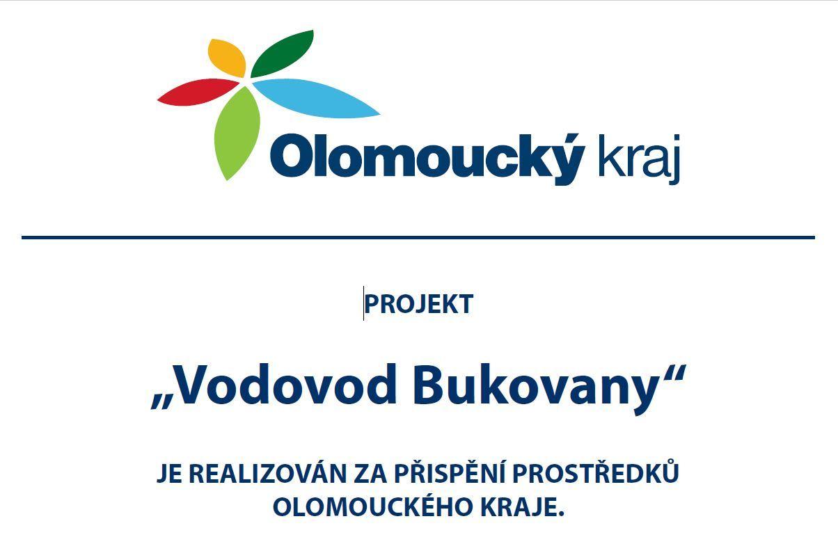 """Projekt """"Vodovod Bukovany"""" je realizován za přispění prostředků Olomouckého kraje."""